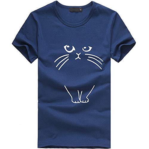 Aniywn Women Plus Size Short Sleeve T-Shirt Loose Girl Casual Round Neck Summer Cat Pattern Tops Blouse Navy