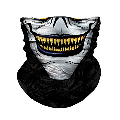 JOEYOUNG Skull Face Mask - UV Sun Dust Protection Neck Gaiter, Half Motorcycle Face Mask Skull Face Shield Bandana Mask, Seamless Headwear Tube Mask for Fishing Hunting Cycling (Black&joker-175)