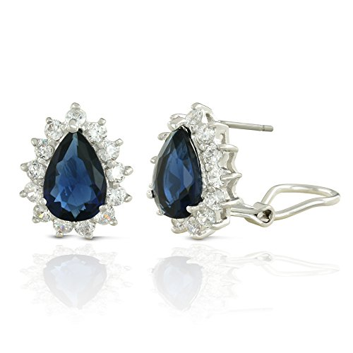 (JanKuo Jewelry Rhodium Plated Royal Inspired Blue Sapphire Color Halo Teardrop French Clip Earrings)