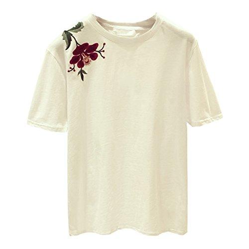Xmy Compassion broderie ressort libéral manches courtes T-shirt femme pause d'ouvrir la chemise et t-shirt code sont