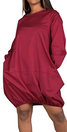 Casual Wine Long Dresses Neck Jaycargogo Color Solid Crew Womens Casual Red Sleeve 87TOORqgfw