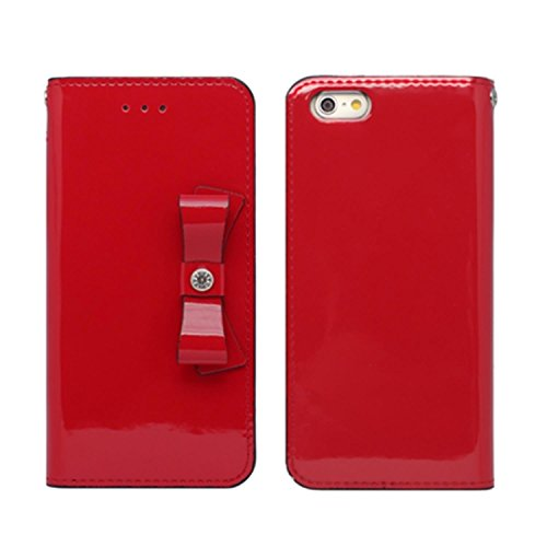 iPhone 6 Luxury Glossy red Patent Leather Clutch Ribbon Case Korea Handmade Case Red (Ribbon Patent)