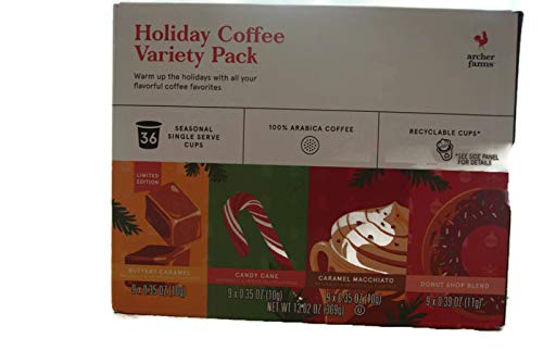 Archer Farms Holiday Coffee Variety Pack K-cups - 36 Seasonal Single Serve Cups - Buttery Caramel, Candy Cane, Caramel Macchiato, Donuts Shop Blend]()