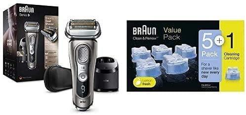 Braun Series 9 9385cc Afeitadora Eléctrica Hombre con Estación Limpieza y Carga Clean&Charge + Braun Clean&Renew Cartuchos de recarga para afeitadora eléctrica hombre, 5+1 unidades
