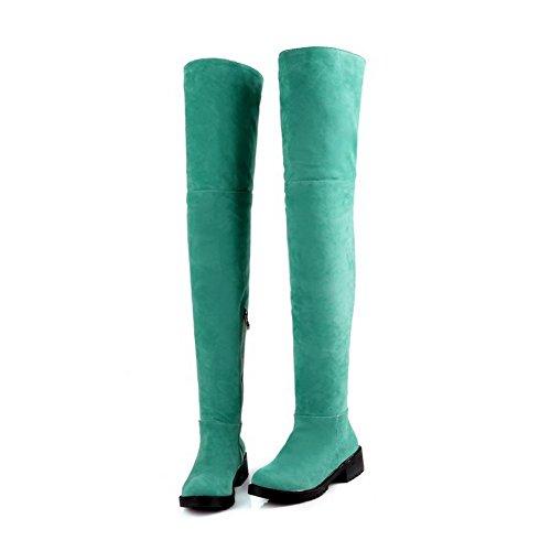 Allhqfashion Femmes Low-talon Givré Haut-top Bottes À Glissière Solide Vert