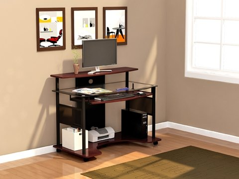 Modern Glass Computer Desk Workstation with Cherry Finish