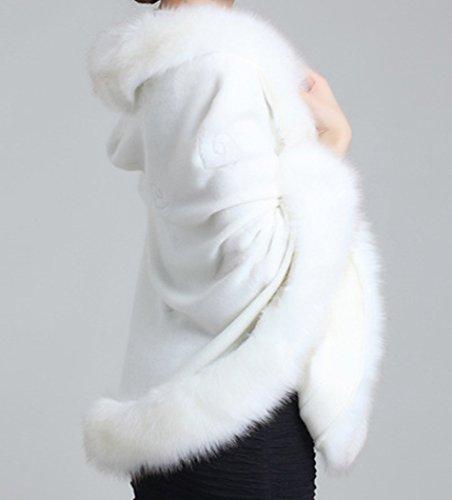 Fox faux Blanc manteau floral avec Helan fourrure chale cape femmes gSPwq5E