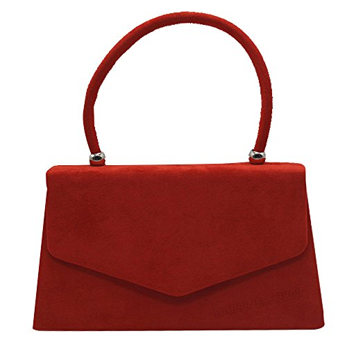 Wocharm Evening Ladies Suede Bags Women Red Leather Handheld Handbags Girls Clutch Faux r6RCqr