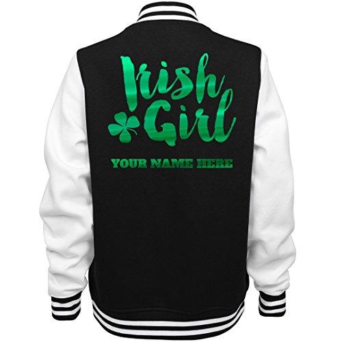 Custom Metallic Irish Girl Bomber: Ladies Fleece Letterman Varsity Jacket for $<!--$59.97-->