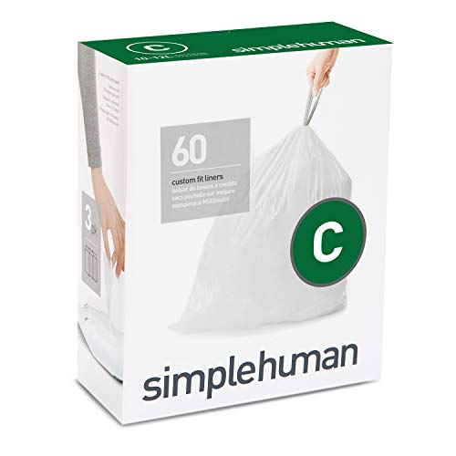 simplehuman Code C Custom Fit Drawstring Trash Bags, 10-12 Liter / 2.6-3.2 Gallon, 3 Refill Packs (60 ()