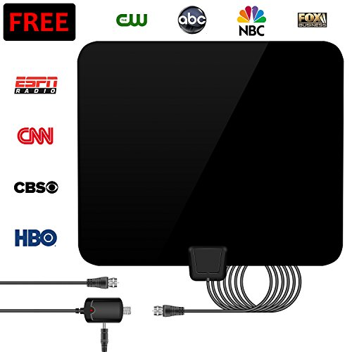 IOVECT TV Antenna, 2018 VERSION HD Digital TV Antenna High-Definition, 50 Mile Range Indoor with Detachable Amplifier Signal Booster(Black)