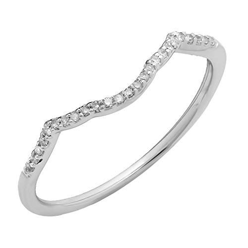 0.08 Carat (ctw) 10K White Gold White Diamond Ladies Wedding Band Contour Guard (White Gold Contour Engagement Ring)