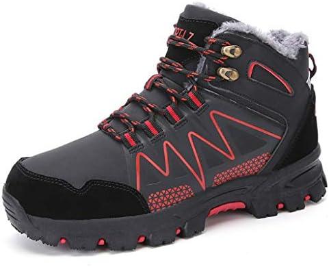 バックパッキングキャンプトレッキングバイク旅行オールシーズンウォーキングのための暖かいウェアラブルメンズ防水ハイキングブーツノンスリップ靴 (Color : Black red, Size : 6.5UK)