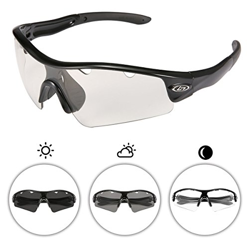 OUTERDO Photochromic Polarized Sports Sunglasses for Men and Women Cycling UV Eye Protection Windproof Glasses with 3 Lens for Outdoor Golf Running Driving Hiking Shooting Fishing Biking - Cycling For Photochromic Sunglasses