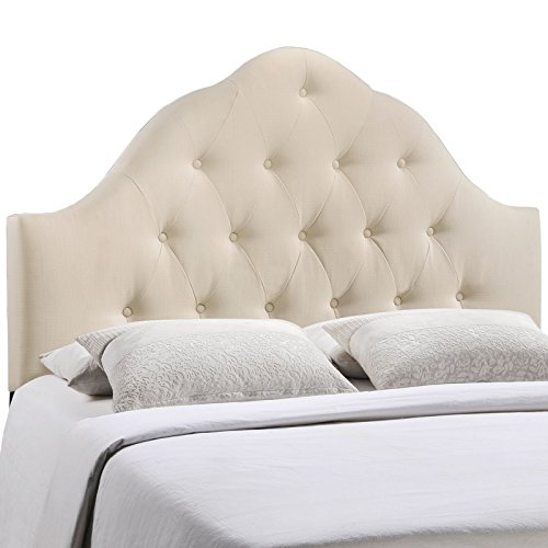 Modway Sovereign Upholstered Tufted Button Fabric Headboard Full Size In Ivory by Modway