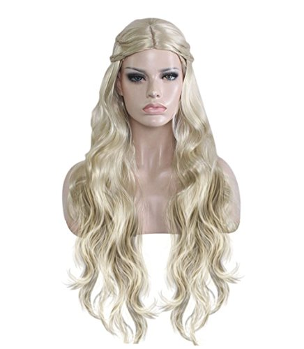 Daenerys Costumes Wig (Milidiso Cosplay Wig for Game of Thrones, Khaleesi Costume Wig Daenerys Targaryen Wig for Women Gold M019)