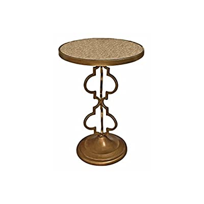 """Design Toscano Film Noir Art Deco Mirrored Accent Table - Dimensions: 18""""Wx18""""Dx26""""H 13 lbs. Hand-crafted by highly skilled artisans using all metal construction Mirrored glass tabletop - living-room-furniture, living-room, end-tables - 41Pd9QdgzhL. SS400  -"""