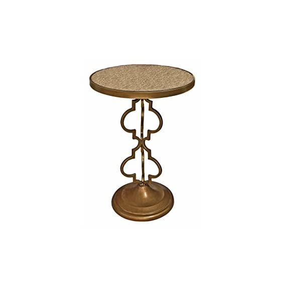 """Design Toscano Film Noir Art Deco Mirrored Accent Table - Dimensions: 18""""Wx18""""Dx26""""H 13 lbs. Hand-crafted by highly skilled artisans using all metal construction Mirrored glass tabletop - living-room-furniture, living-room, end-tables - 41Pd9QdgzhL. SS570  -"""