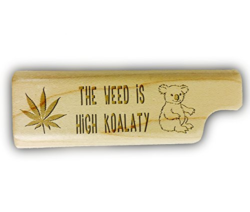 HIGH-KOALATY-Cute-Pot-Weed-Leaf-3D-Laser-Engraved-Disposable-Lighter-Wooden-Cover-Case