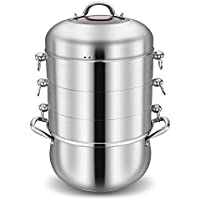 4-Layers 304 Stainless Steel Steamer Pot with Transparent Lid Thicken Without Holes Steamer Rice Food Steam Pot Fast Boilers