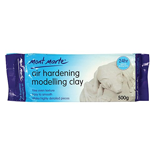 Mont Marte White Air Hardening Modeling Clay, 500g (1.1lb). Dries in Approximately 24 Hours. Suitable for Sculptors and Modelers of All Skill (Hardening Clay)
