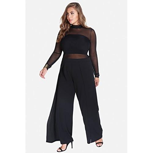 Women\'s Plus SIze Black Lydia Techno Crepe Wide Leg Dressy ...