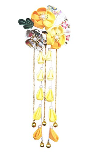 Japanese Wedding Flowers - CRB Fashion Womens Girls Kimono Traditional Tsumami Kanzashi Outfit Wedding Japanese Asian Yukata Hair Tie Flower Floral Sakura Fan Barrette Clip (Yellow)
