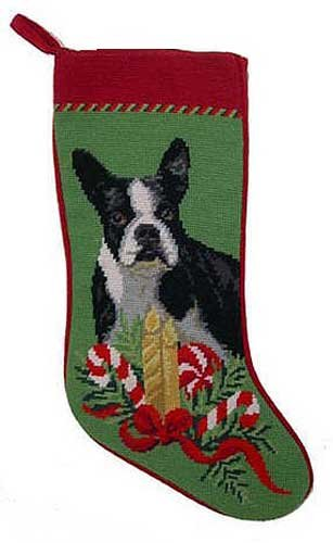 (Dog Breed Needlepoint Stocking Boston Terrier)