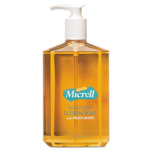 MICRELL Antibacterial Lotion Soap, Citrus/Floral Balsam Fragrance, 12 fl oz Soap Counter Top Pump Bottles (Case of 12) - 9759-12 - Micrell Antibacterial Lotion Soap Pump
