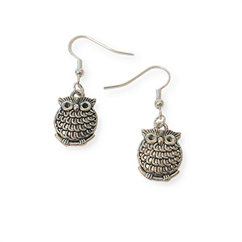 Owl Dangle Earrings, Small Silver Tone Bird Jewelry, Handmade Women's Earring (Hand Dangle)