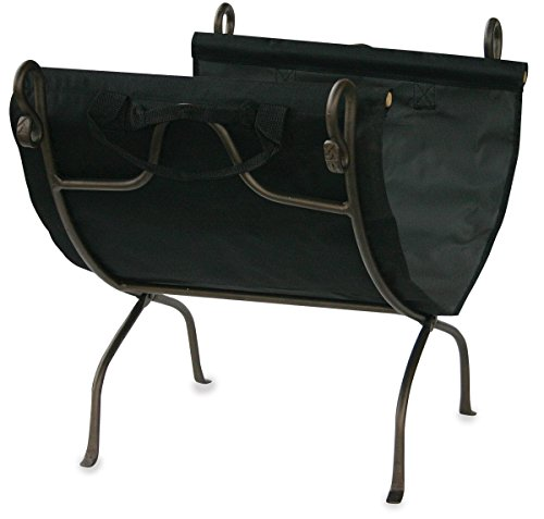 Uniflame, W-1617, Bronze Wrought Iron Log Rack with Canvas Carrier (Wood Holder Uniflame)