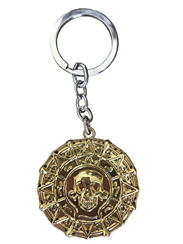 (Graceful Goods Faux Gold Movie Inspired Pirate Coin Keychain with Skull Emblem)