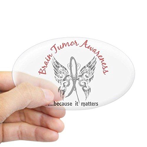 CafePress Brain Tumor Butterfly 6.1 Sticker (Oval) Oval Bumper Sticker, Euro Oval Car Decal -