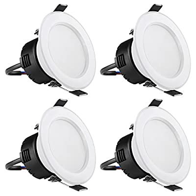 LE Pack of 4 Units 4W 3-Inch LED Recessed Lighting, 30W Halogen Bulbs Equivalent, Not Dimmable, 210lm, Warm White, 3000K, 90° Beam Angle, Recessed Ceiling Lights, Recessed Lights, LED Downlight