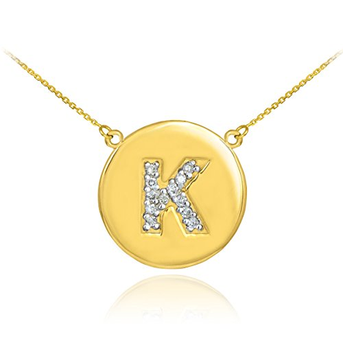 Diamond Initial Pendant Necklace (Fine 14k Yellow Gold Letter