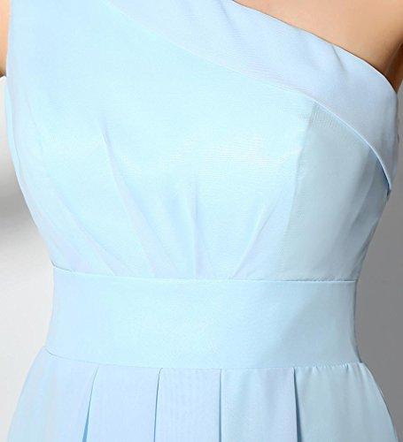 Beauté-emily Une Mousseline Épaule Au-dessus Du Genou Robe De Cocktail Sans Manches Bleu