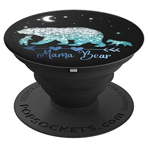 Blue snow Mama Bear and two Cubs Pop Socket black pattern - PopSockets Grip and Stand for Phones and Tablets