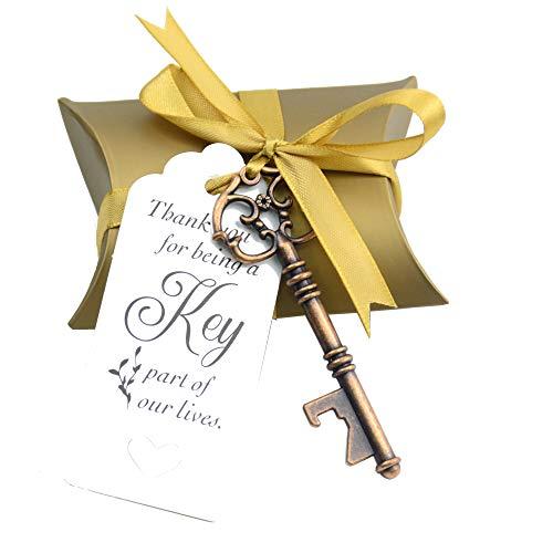 Souvenir Gift Set Pillow Candy Box Vintage Skeleton Key Bottle Openers Thank You Gift Tag Silk Ribbon (Antique Copper) ()