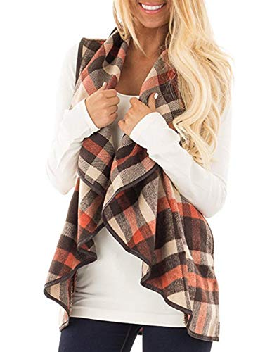 Women's Sleeveless Vest Color Block Open Front Plaid Lapel Cardigan Vest with Pockets Outwear Red XL