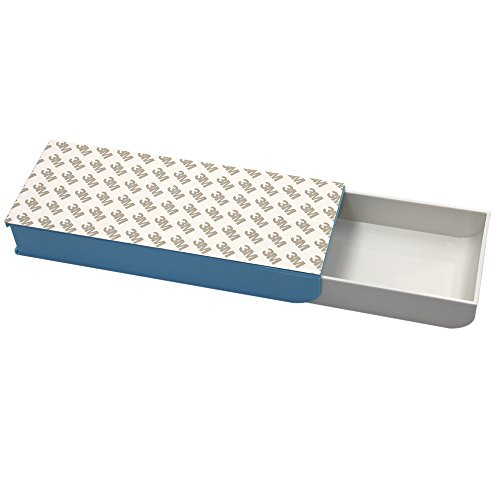Erlvery DaMain 3M Self Adhesive Pencil Tray Drawer Pop-up Pencil Case Pencil Box Pen Storage Drawer Organizer (Blue)