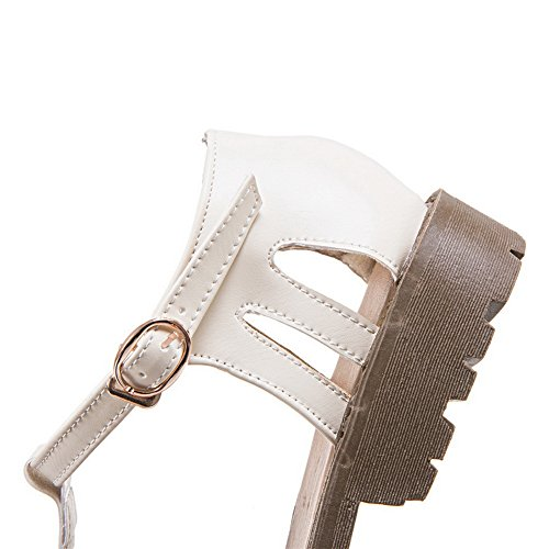 Metal Heels Hollow Urethane Flats BalaMasa Beige Out Shoes Square Womens Buckles tqFwnxH7g