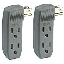 2-Pack 3-Outlet Tap Wall Adapter, Vertical Side-Access, Ac Power Adapter, Multi-Plug for Charging Station, Electronic Video Game, TV, Computer, and Appliances in Kitchen, Household, and Workshops.