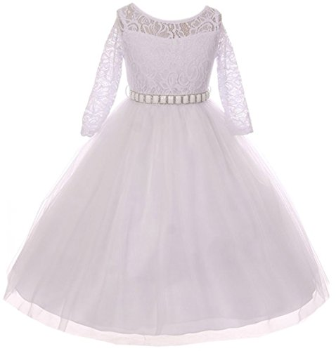 Dreamer P Little Girls Dress Lace Top Rhinestones Tulle Holiday Christmas Party Flower Girl Dress White Size 6 (M37BK2)