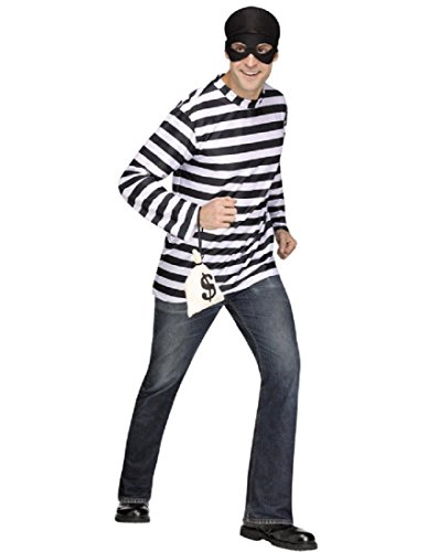 Fun World Men's Plus Size Burglar Adult Costume,