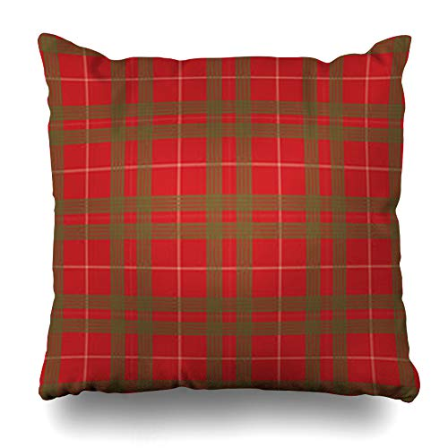 AlliuCoo Throw Pillows Covers Garments Red Green Christmas Plaid Tartan Pattern Lines Table Designbackgrounds Home Decor Zippered Cushion Case Square Size 18