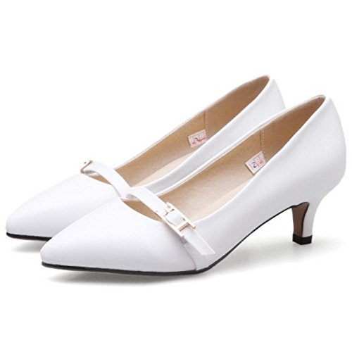 RAZAMAZA Escarpins Femmes Heel white Kitten Simple rFrawqA