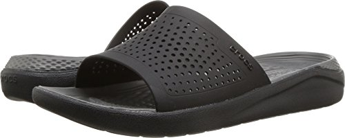 Crocs Unisex-Adults Literide Slide Sandal, Black/Slate Grey, 10 US Men/12 US Women by Crocs