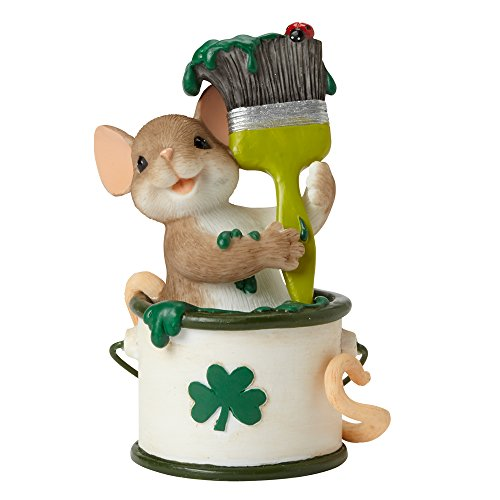 Enesco Charming Tails Let s Paint The Town Green Figurine, 3.13-Inch