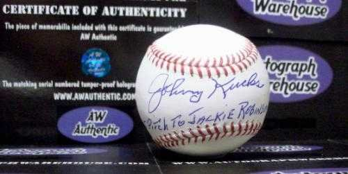 "Johnny Kucks autographed Baseball inscribed ""Last Pitch T..."
