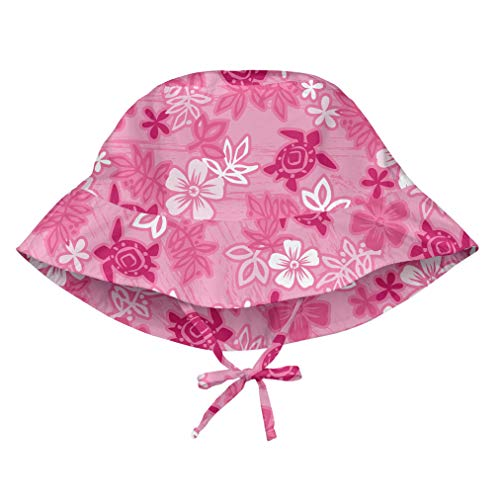 (i play. Girls' Toddler Bucket Sun Protection Hat Pink Hawaiian Turtle 2T-4T, 2T/4T)